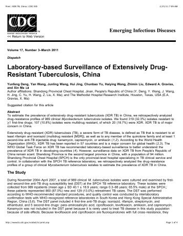 Surveillance of Extensively Drug-Resistant Tuberculosis ... - Biocence