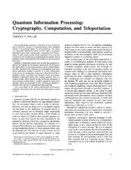 Quantum Information Processing - Department of Physics & Astronomy