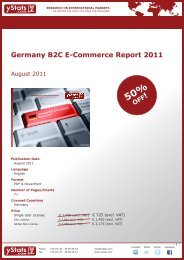 Germany B2C E-Commerce Report 2011 - yStats.com