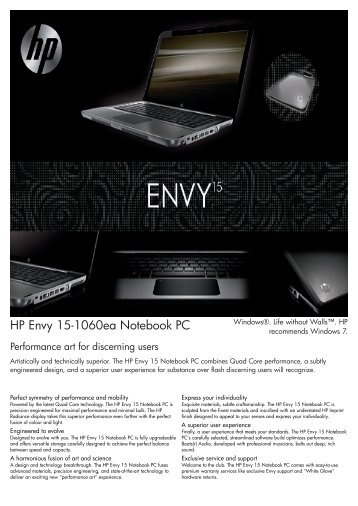 PSG Consumer 3C09 HP Notebook Envy Datasheet - Box.co.uk