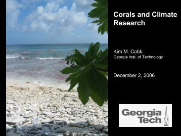 Corals and Climate Research