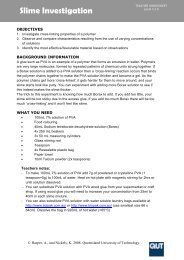 Slime investigation teacher worksheet - QUT