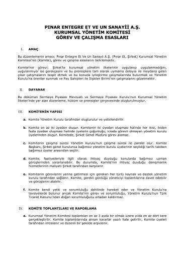 kurumsal yönetim komitesi görev ve çalışma esasları - Pınar