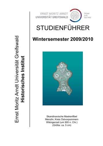 Wintersemester 2009/2010 - Philosophische Fakultät - Ernst-Moritz ...