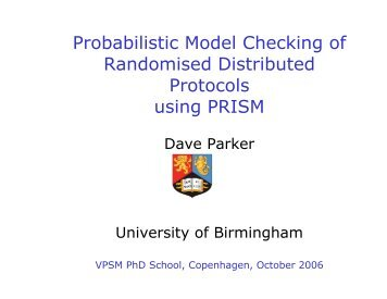 Probabilistic Model Checking of Randomised Distributed ... - PRISM