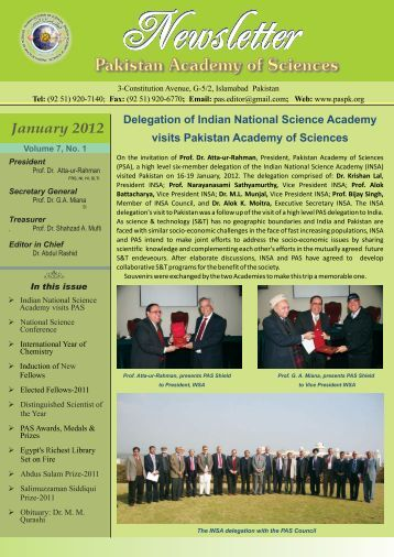PAS Newsletter - Pakistan Academy of Sciences