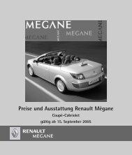 Preise und Ausstattung Renault Mégane - Renault Kriegner