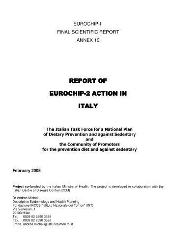 report of report of eurochip-2 action in 2 action in 2 ... - I tumori in Italia