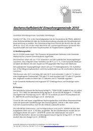 Rechenschaftsbericht Einwohnergemeinde 2010