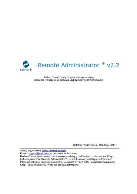 Remote Administrator Radmin 22 User Manual Polish