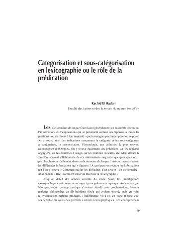 El Hadari R. - Faculté des Lettres et des Sciences Humaines Ben M ...