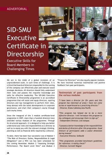 SID-SMU Executive Certificate in Directorship - Singapore Institute ...