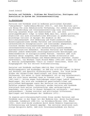 Josef Schmid Parteien und Verbände - Probleme der Konstitution ...