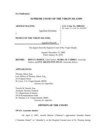 SUPREME COURT OF THE VIRGIN ISLANDS OPINION OF THE ...