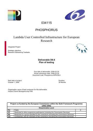 D6.6: Plan of testing - Phosphorus