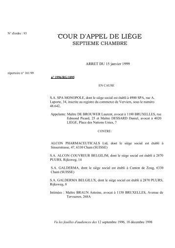 Cour d 39 appel de li ge juridat - Chambre correctionnelle cour d appel ...