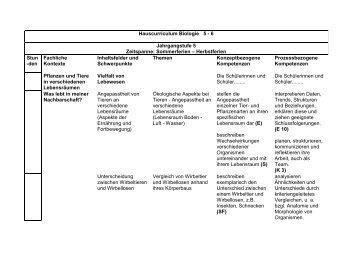 Hauscurriculum Biologie 5 - 6 Jahrgangstufe 5 Zeitspanne ...