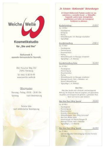Preisliste Kosmetik Weiche Welle.CDR - Weiche Welle Haarerlebnis