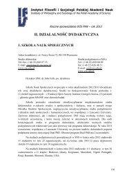 Działalność dydaktyczna [plik PDF] - Instytut Filozofii i Socjologii PAN