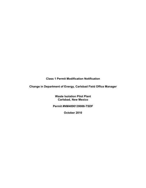 Class 1 Permit Modification - Waste Isolation Pilot Plant - U.S. ...