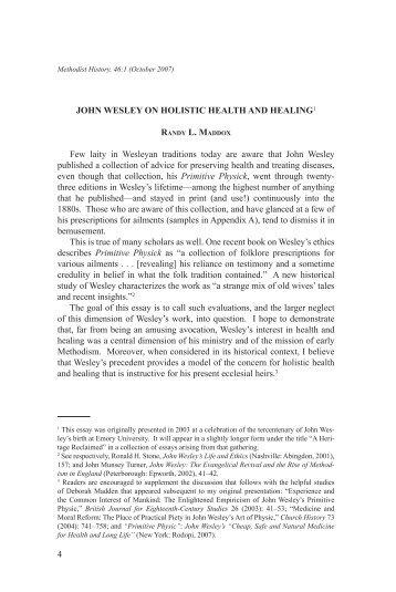John Wesley on Holistic Health and Healing - Faith and Health ...