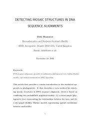 detecting mosaic structures in dna sequence alignments