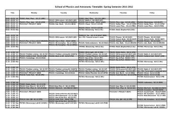 Spring Semester 2011-2012 - Cardiff School of Physics and ...