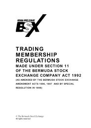 Trading Membership Regulations - Bermuda Stock Exchange