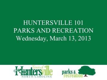 Parks & Recreation - Town of Huntersville