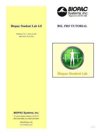 Biopac Student Lab 4.0 BSL PRO TUTORIAL