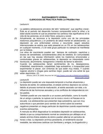 RAZONAMIENTO VERBAL EJERCICIOS DE PRACTICA PARA LA ...
