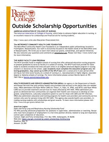 Outside Scholarship Opportunities - Regis College