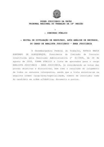 TRIBUNAL REGIONAL DO TRABALHO DA 18ª REGIAO - TRT18