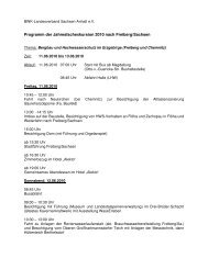Programm der Jahresfachexkursion 2010 nach Freiberg/Sachsen