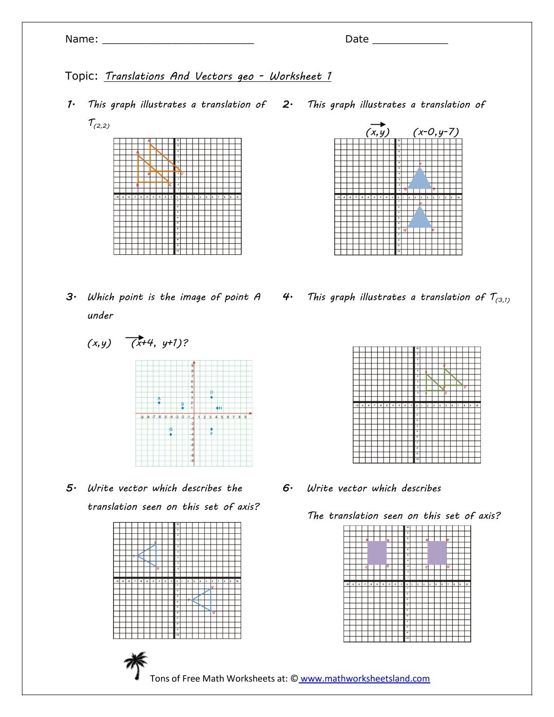 worksheet Translations Math Worksheets worksheet translation vectors thedanks for math worksheets all download and share math