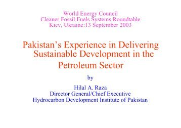 Pakistan's Experience in Delivering Sustainable Development - WEC