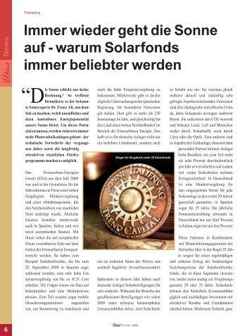 Immer wieder geht die Sonne auf - warum Solarfonds ... - GeldWelt.de
