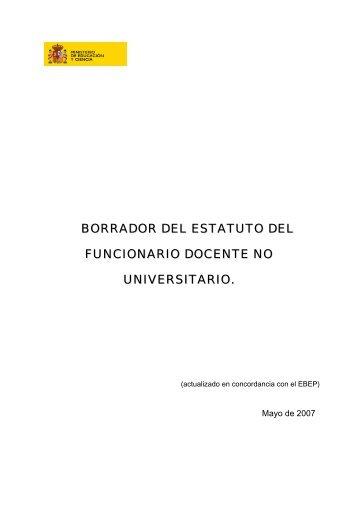 Nuevo borrador del Estatuto Docente - FETE-UGT