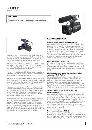 Sony : Información del producto : HXR-MC50E ... - Vitelsa Norte