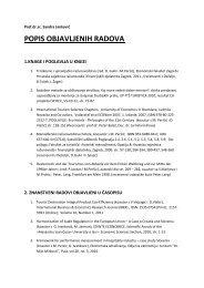 popis objavljenih radova - LUMENS - Fakultet za menadžment u ...