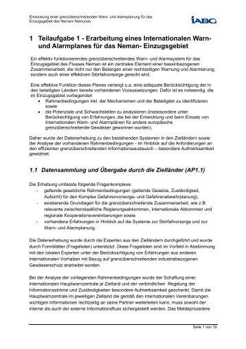 1 Teilaufgabe 1 - und Alarmplanung für das Einzugsgebiet des ...