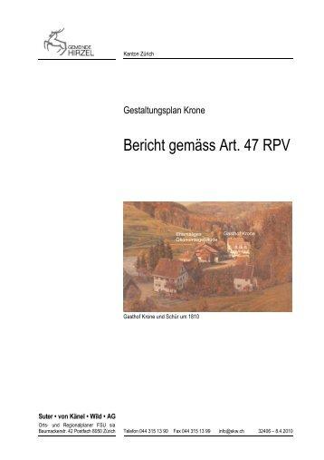 Bericht gemäss Art. 47 RPV - Gemeinde Hirzel