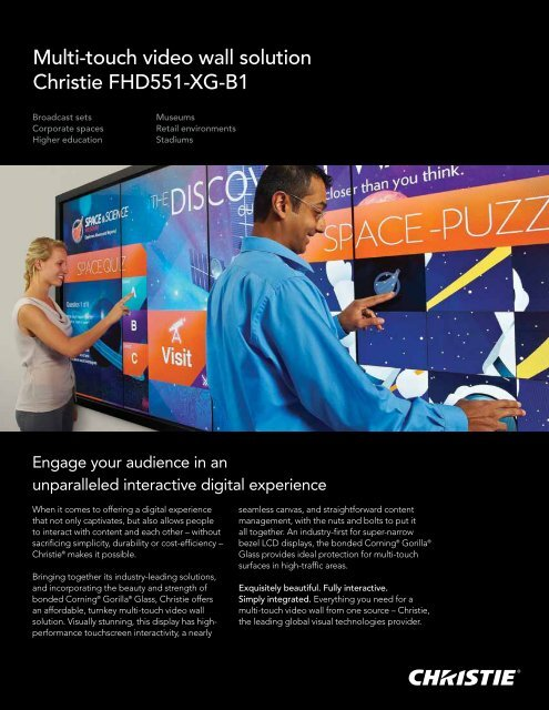 Multi-touch video wall solution Christie FHD551-XG-B1