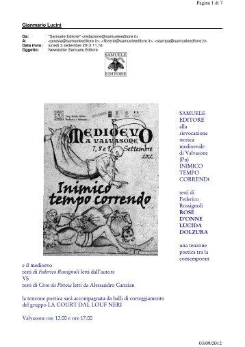 SAMUELE EDITORE alla rievocazione storica medioevale ... - Poiein