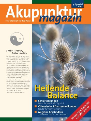 Akupunktur 4. Quartal 2005 - bei der DÄGfA