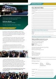 Reservation Form - Australian Pharmaceutical Publishing Company