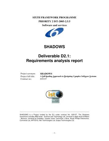 SHADOWS Deliverable D2.1: Requirements ... - IBM Haifa Labs