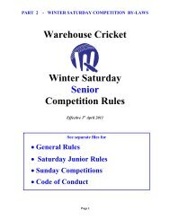 Warehouse Cricket Winter Saturday Senior Competition Rules