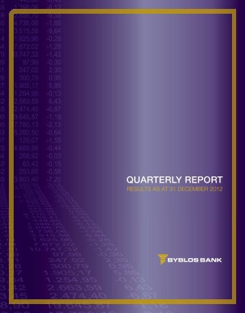 QUARTERLY REPORT - Byblos Bank