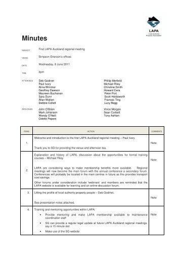 Minutes of LAPA Auckland Regional Meeting held on 6 June 2011.